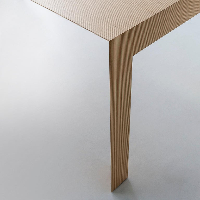 Modern Contemporary Striped Pattern Wood Table by Sebastiano Bottos, Italia For Sale