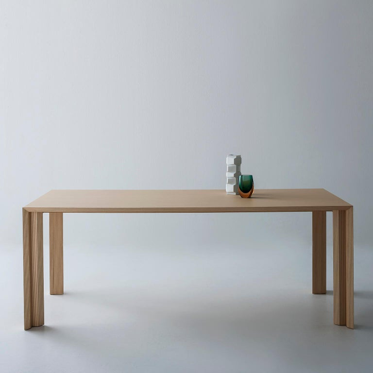 Woodwork Contemporary Striped Pattern Wood Table by Sebastiano Bottos, Italia For Sale