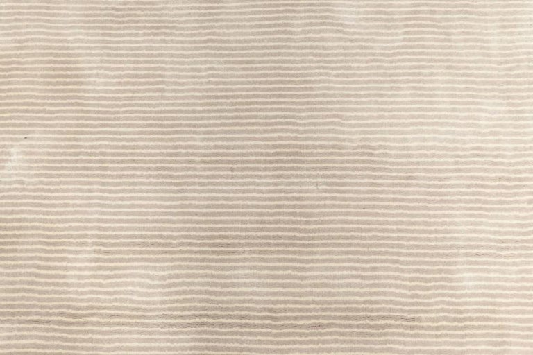 Hand-Knotted Contemporary Striped Silver Gray and Lilac Hand Knotted Silk Rug For Sale