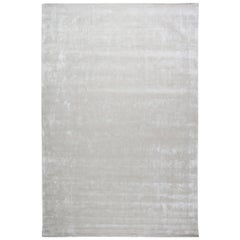 Contemporary Striped Silver Gray and Lilac Hand Knotted Silk Rug