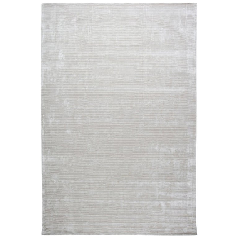 Contemporary Striped Silver Gray and Lilac Hand Knotted Silk Rug For Sale
