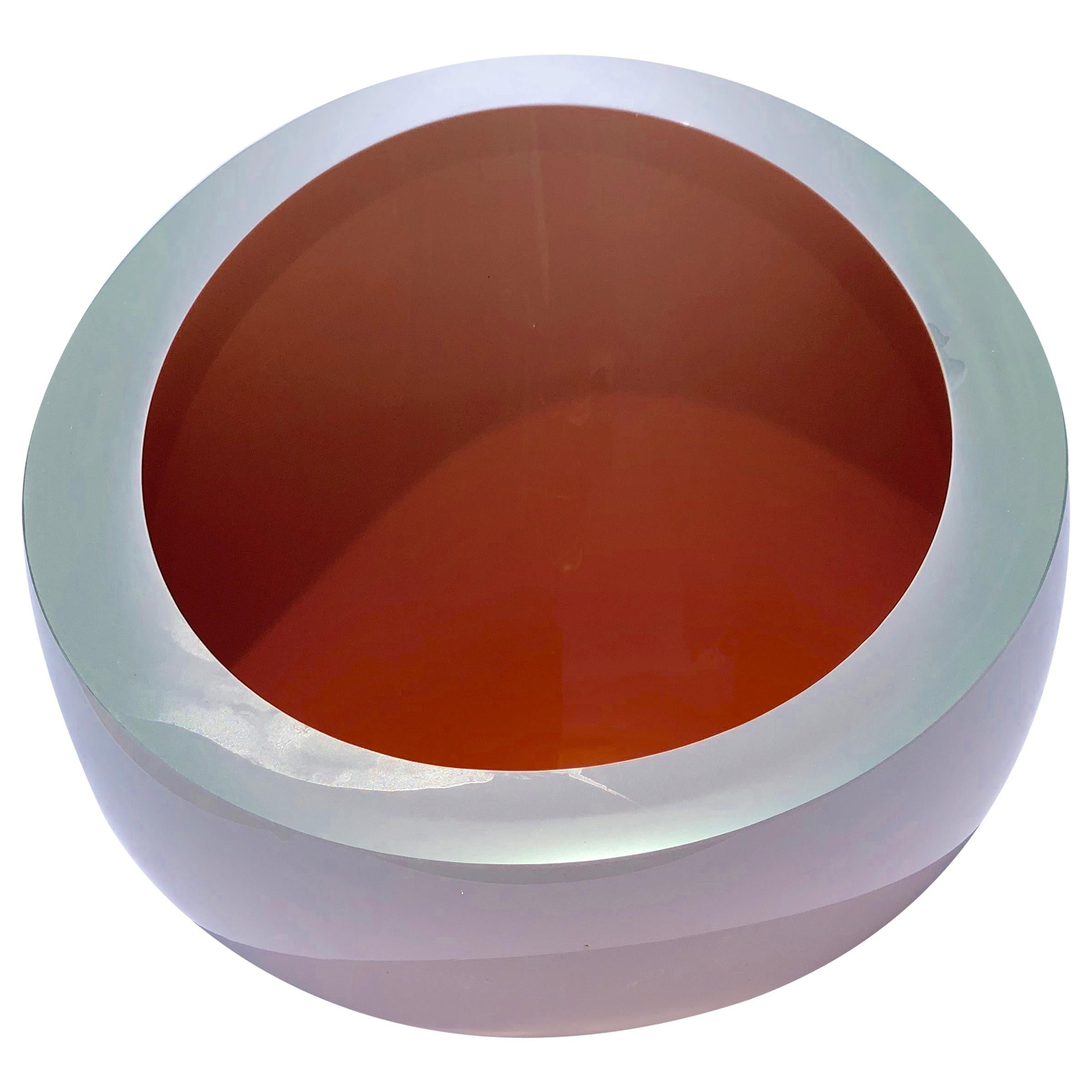 Contemporary Studio Glass Bowl in Coral Color, Made in the Czech Republic, 2010
