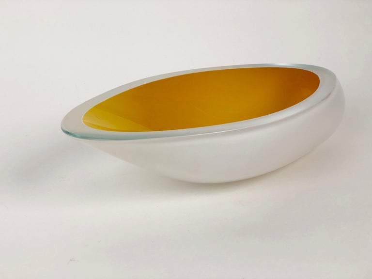 Hand-Crafted Contemporary Studio Glass Bowl Made in the Czech Republic After 2010 For Sale