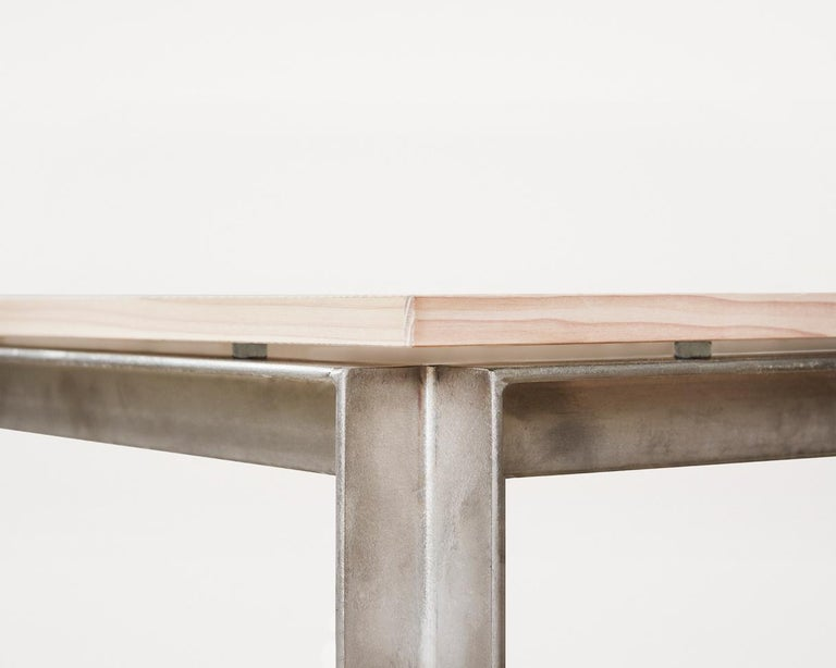Danish Contemporary Studio Table with Douglas Fir Veneer Top and Stainless Steel Frame For Sale