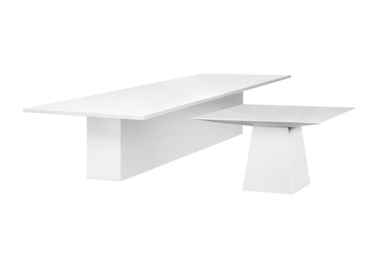 Modern Contemporary Style Dining Table for Outdoor Use, Matte White For Sale