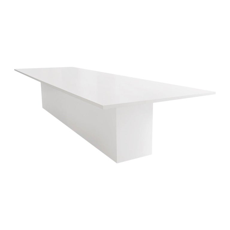 Contemporary Style Dining Table for Outdoor Use, Matte White For Sale