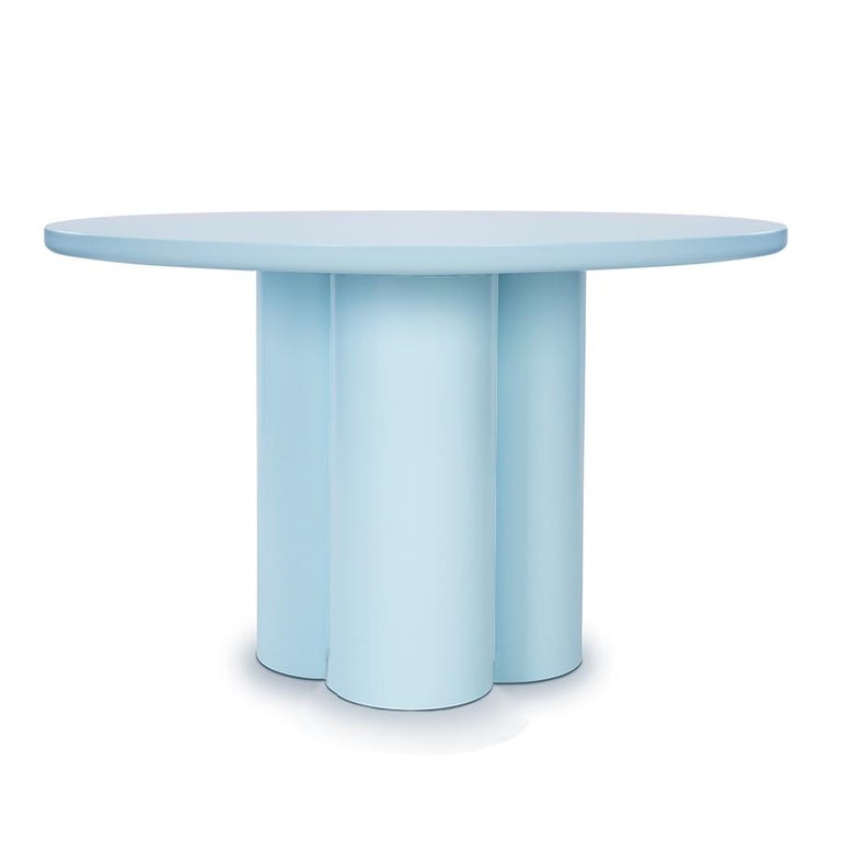 Mediterranean dining table is about a pleasant, easy life. Lacquered on the color of your choice, it demonstrates that the words Minimalist and sumptuous are not antithetical. Embrace the simplicity.  Measures: Height 74 cm. 29 in. Ø 120 cm. 47