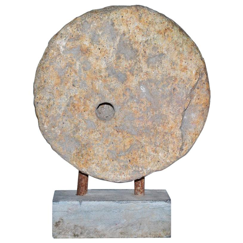 Contemporary Style Mill-Stone-on-Stand Sculpture