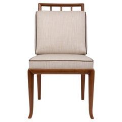 Contemporary Style Walnut Frame Dining Chair, Made in Italy