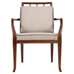 Contemporary Style Walnut Frame Dining Chair with Armrests, Made in Italy