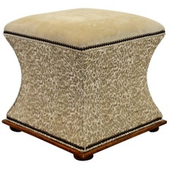 Contemporary Suede Topped Stool Ottoman
