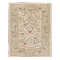 Contemporary Sultanabad Handmade Floral Beige Wool Rug