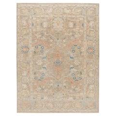 Contemporary Sultanabad Tan Handmade Geometric Floral Wool Rug