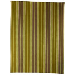 Contemporary Sundance Striped Green and Gray Hand Knotted Rug