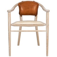 Contemporary 'Sussex' Dining Chairs in Oak, Cane & Leather by Edward Johnson