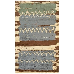 Contemporary Swedish Blue, Green with Brown and Beige Pile Wool Rug