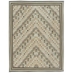 Contemporary Swedish Design Beige and Brown Flat-Weave Rug