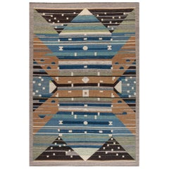 Contemporary Swedish Design Blue, Brown, Gray, Green and Ivory Flat-Weave Rug