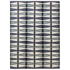 Contemporary Swedish Design Blue, Gray, White and Black Hand Knotted Wool Rug