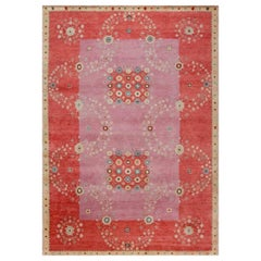 Contemporary Swedish Design Red, Pink & Beige Wool Rug