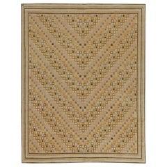 Contemporary Swedish Inspired Tibetan Beige Handwoven Wool Rug