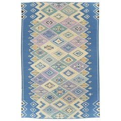 Contemporary Swedish Inspired Turkish Flat-Weave Kilim Long Room Size Carpet