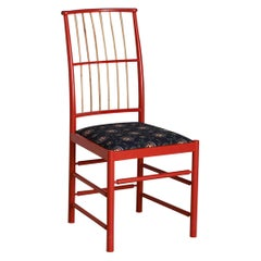 Contemporary Swedish Josef Frank Chair in Red Painted Wood, Bamboo and Textile