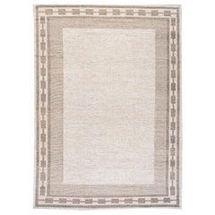 Contemporary Swedish Style Beige Handmade Room Size Designed Wool Rug