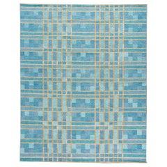 Contemporary Swedish Style Blue Handmade Geometric Pattern Oversize Wool Rug