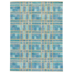 Contemporary Swedish Style Blue Handmade Geometric Pattern Wool Rug