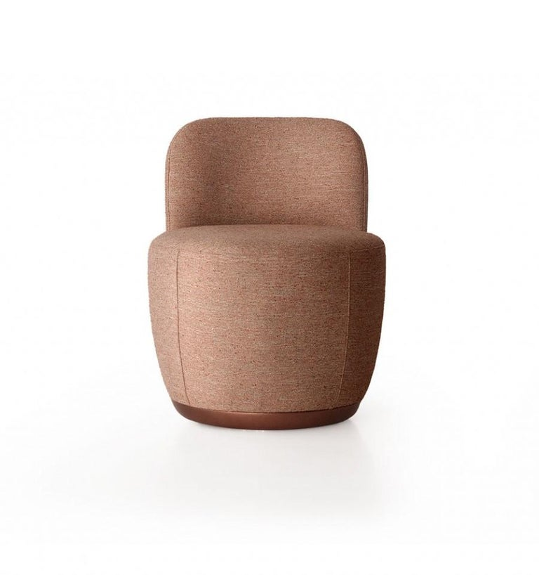 European Contemporary Swivel Armchair Set in Cocktail Textured Fabric For Sale