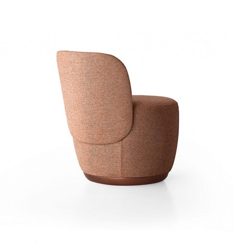Metal Contemporary Swivel Armchair Set in Cocktail Textured Fabric For Sale