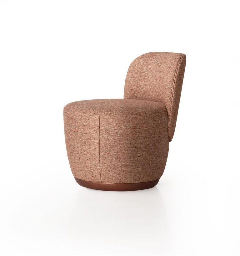 Contemporary Swivel Armchair Set in Cocktail Textured Fabric For Sale 1