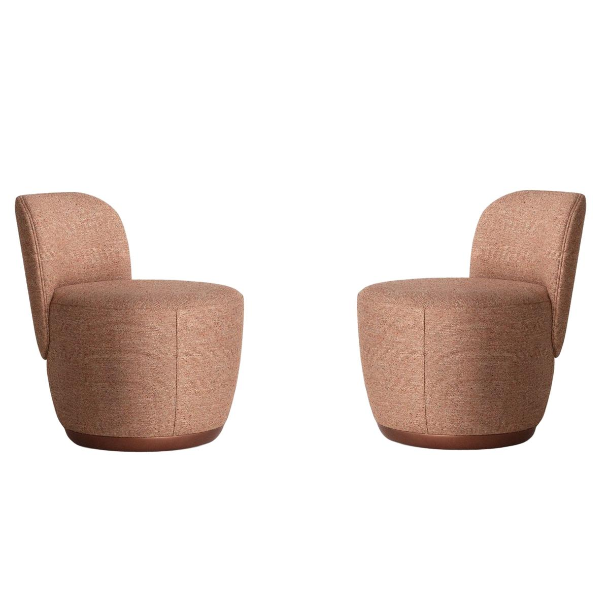 Contemporary Swivel Armchair Set in Cocktail Textured Fabric