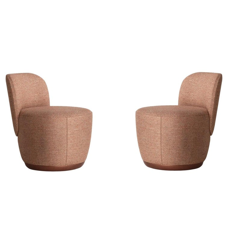 Contemporary Swivel Armchair Set in Cocktail Textured Fabric For Sale