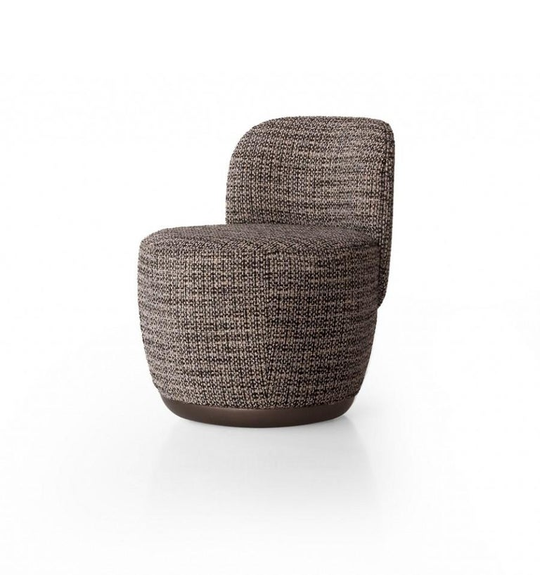 European Contemporary Swivel Armchair Set in Multicolored Bouclé Fabric For Sale