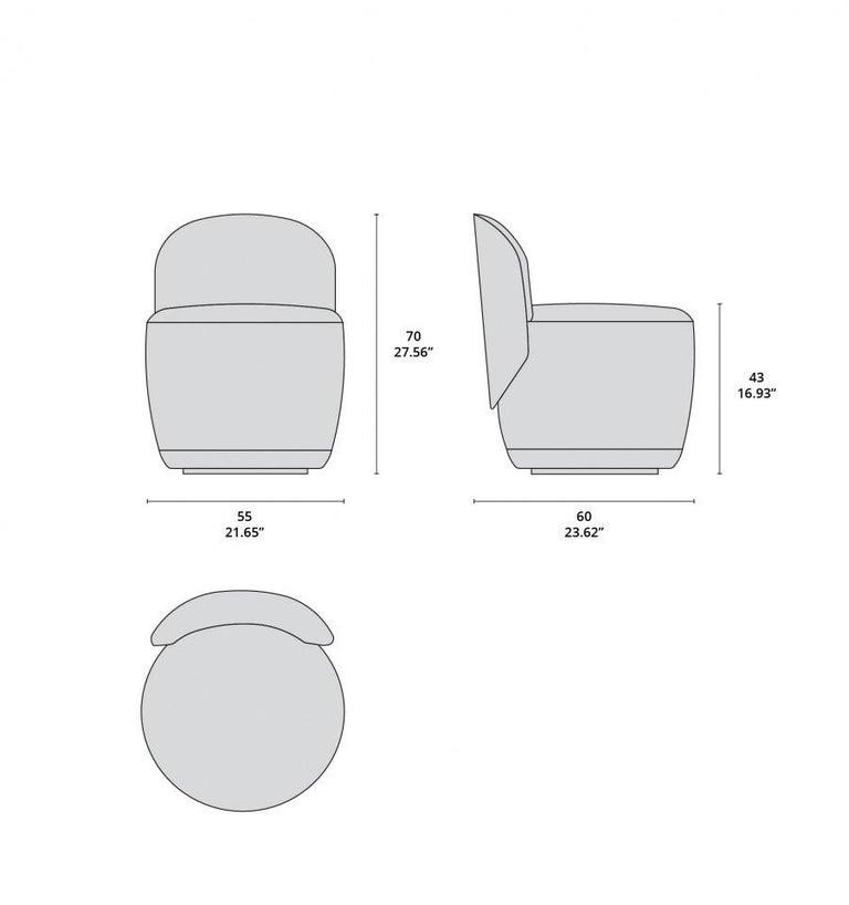 Contemporary Swivel Armchair Set in Multicolored Bouclé Fabric For Sale 1