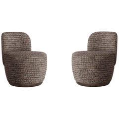 Contemporary Swivel Armchair Set in Multicolored Bouclé Fabric