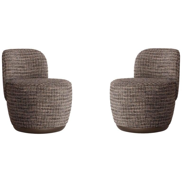 Contemporary Swivel Armchair Set in Multicolored Bouclé Fabric For Sale