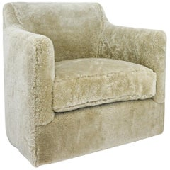 Contemporary Swivel Chair in Shearling, Customizable