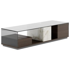 Contemporary Table by Fabio Arcaini Glass Oak Smoked Glass Marble