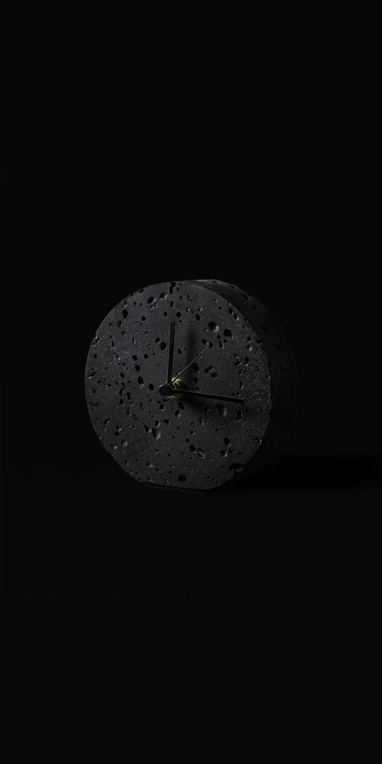 Industrial Contemporary Table Clock 'Moment' in Black Lava Stone For Sale