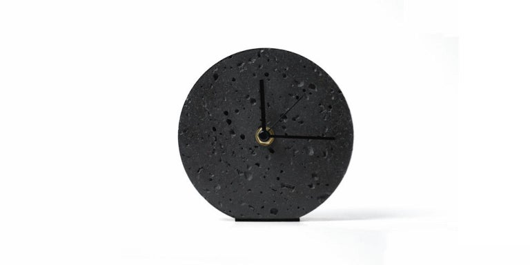Chinese Contemporary Table Clock 'Moment' in Black Lava Stone For Sale