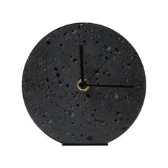 Contemporary Table Clock 'Moment' in Black Lava Stone