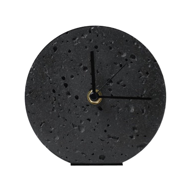 Contemporary Table Clock 'Moment' in Black Lava Stone For Sale