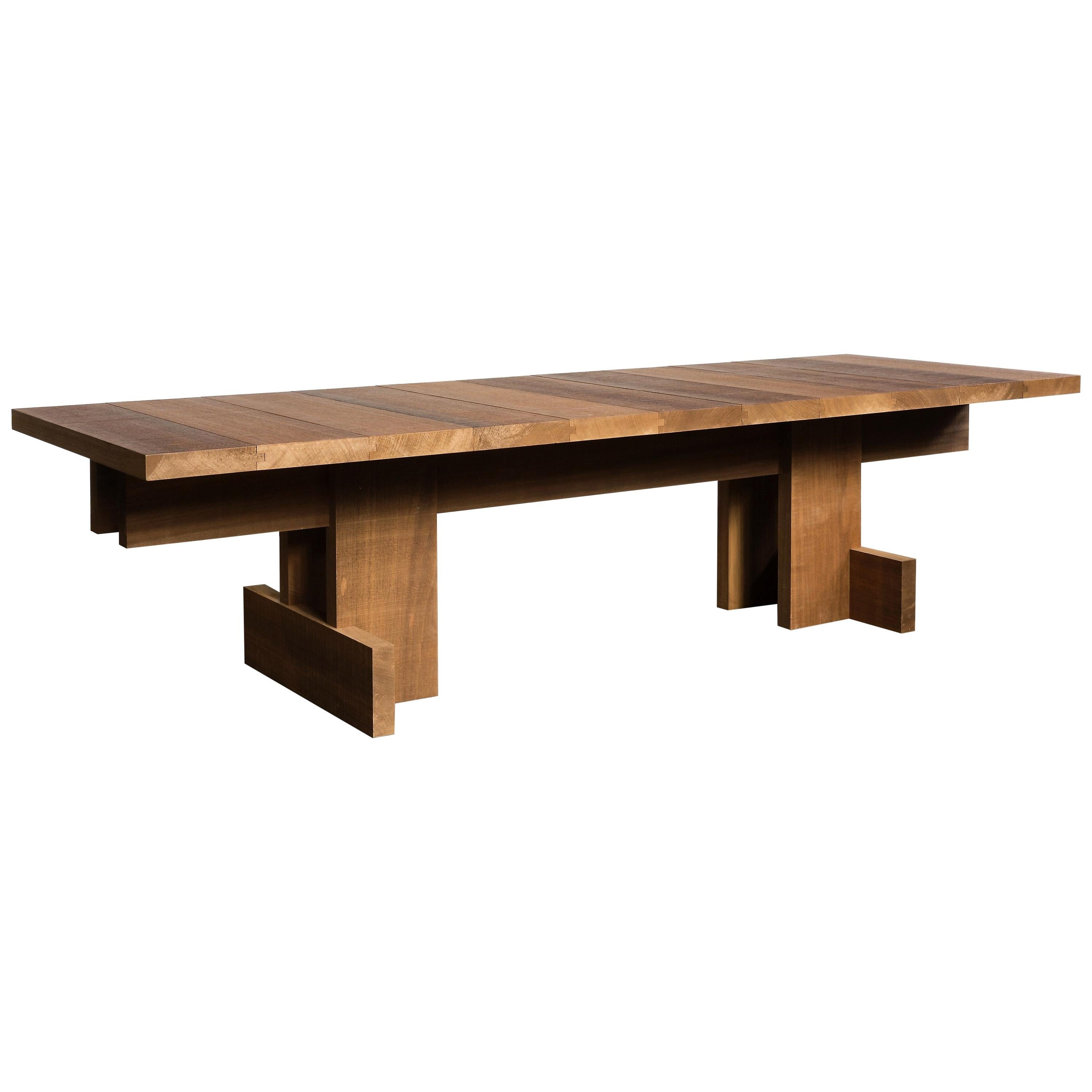 Contemporary Table for Indoors/Outdoors Designed in Brutalist Style