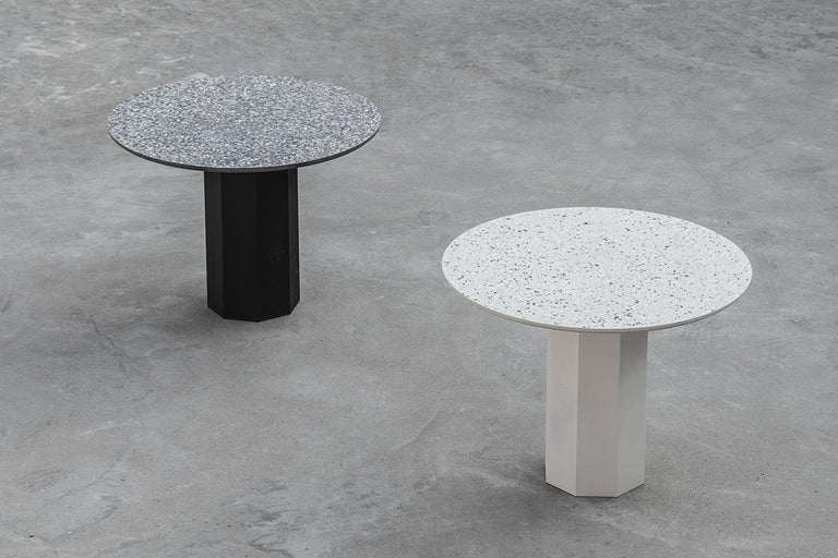 'GONG' is a dining table made of terrazzo and steel.