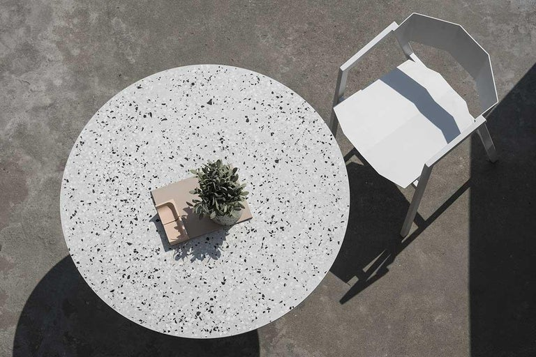 Steel Contemporary Table 'Gong' 'black terrazzo' For Sale