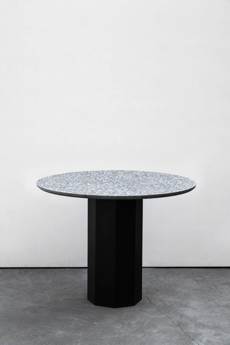 Steel Contemporary Table 'Gong' 'white terrazzo' For Sale