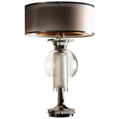 Contemporary Table Lamp Crystal Nickel-Plated Brass